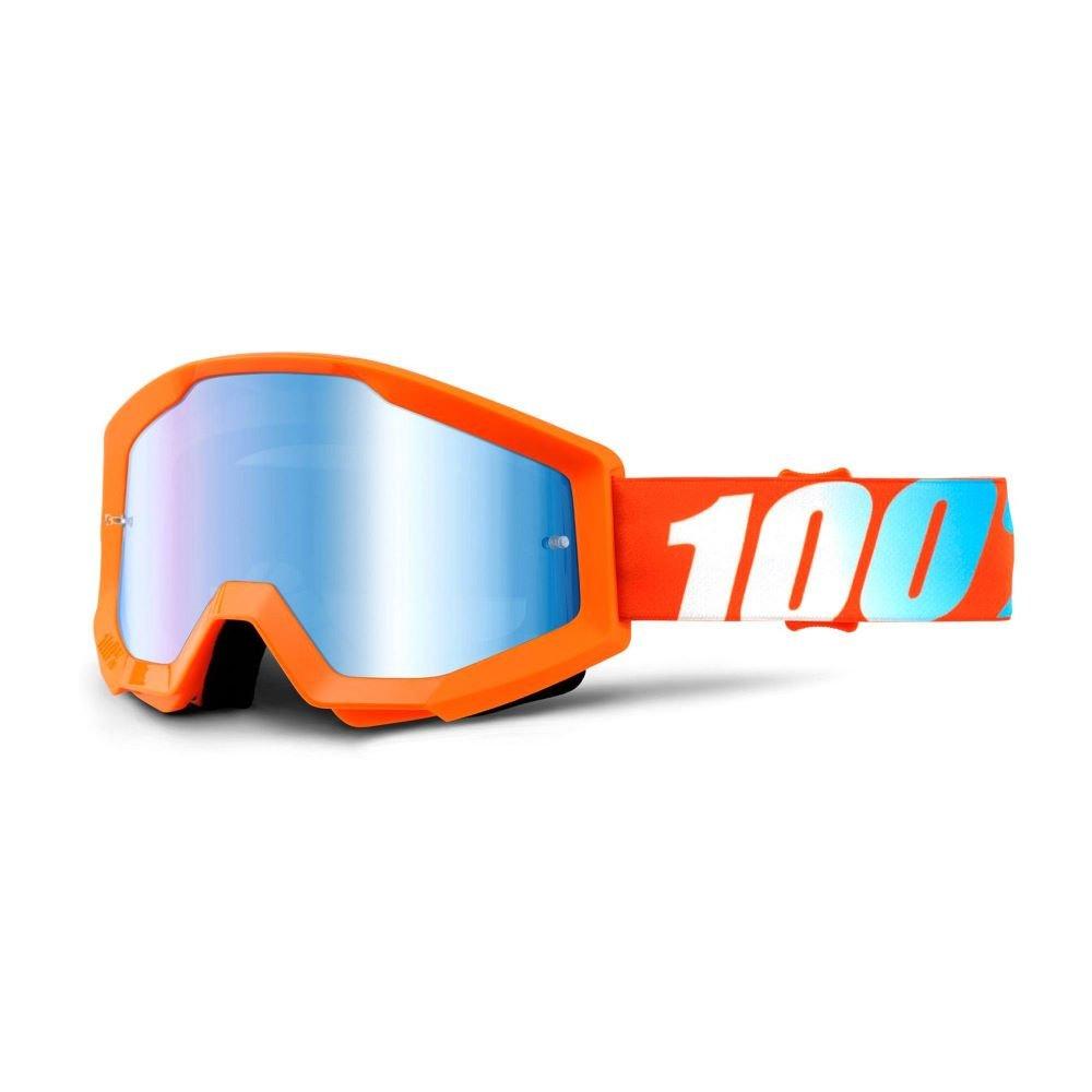 100% Strata Goggle Orange Mirror Blue Lens Mirror Blue Lens