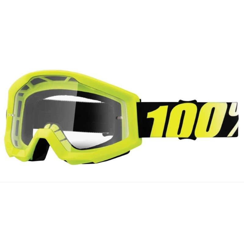 100% Strata Goggle Neon Yellow Clear Lens Clear Lens