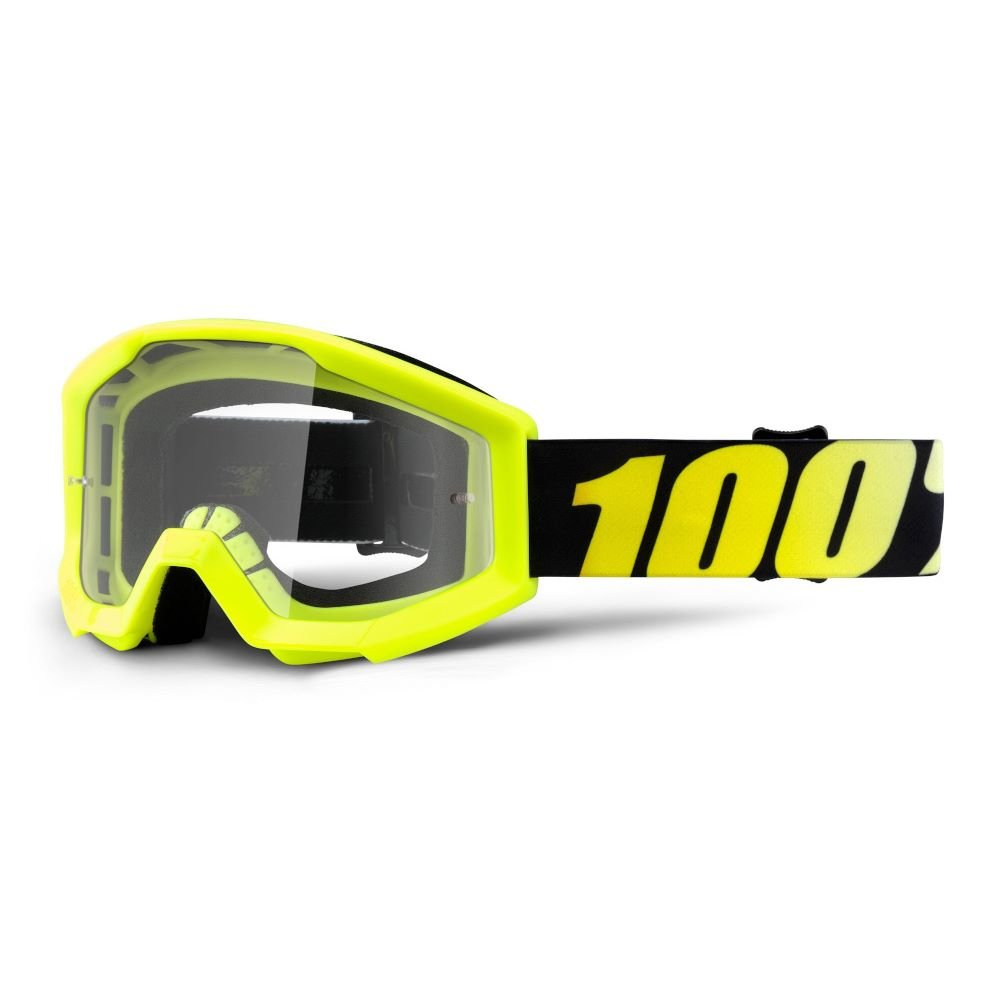 100% Strata JR Goggle Neon Yellow Clear Lens Clear Lens