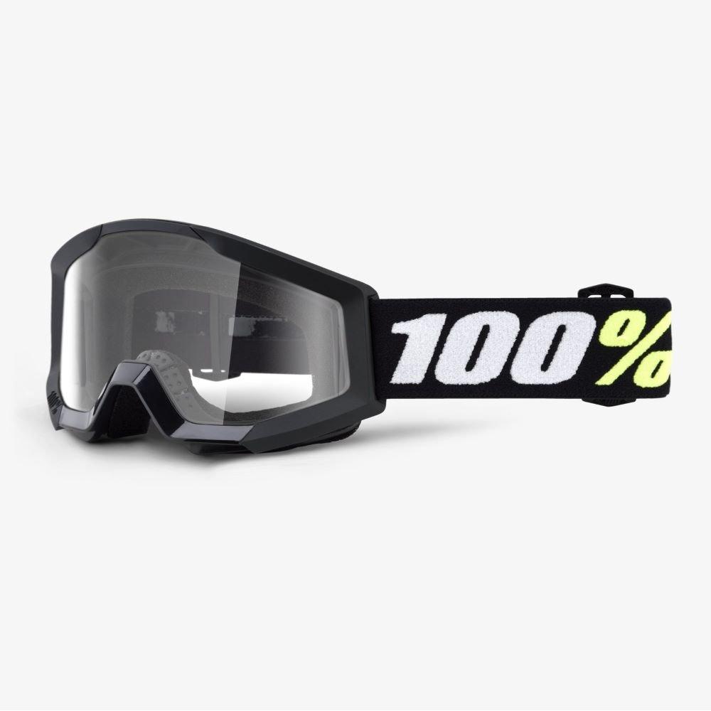 100% Strata Mini Goggle Black Clear Lens Clear Lens