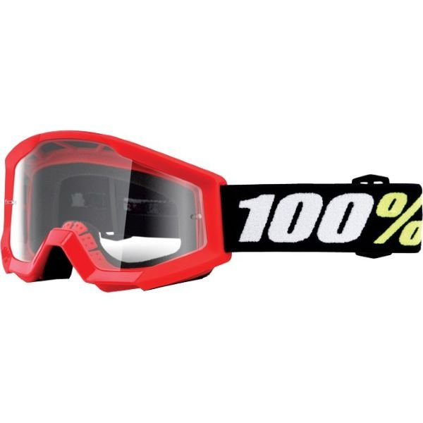 100% Strata Mini Goggle Red Clear Lens Clear Lens