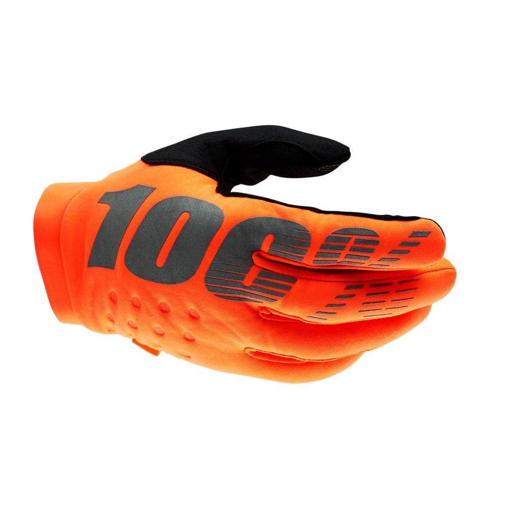 100% Brisker Youth Gloves Fluo Orange Black Size: Youth - S