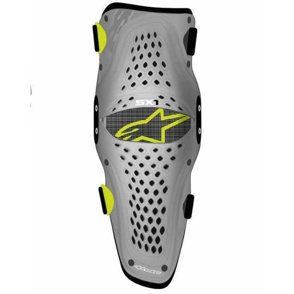 Alpinestars SX-1 Youth Knee Protector Silver Yellow Flo Size: S-M