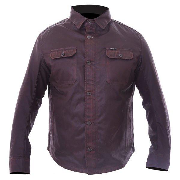 BKS Wax Brown Kevlar Motorcycle Shirt Front