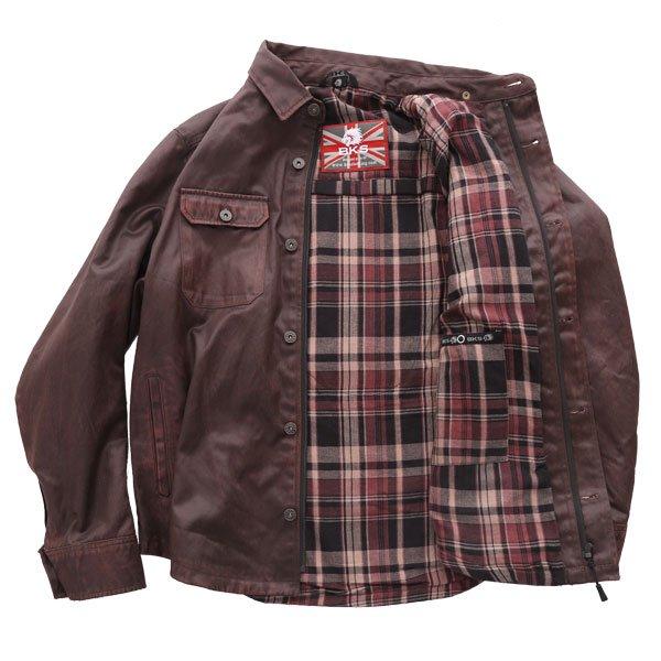 BKS Wax Brown Kevlar Motorcycle Shirt Inside