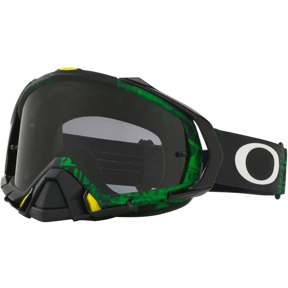 Mayhem Pro MX Goggle Distress Tagline Green Yellow Dark Grey Oakley Goggles