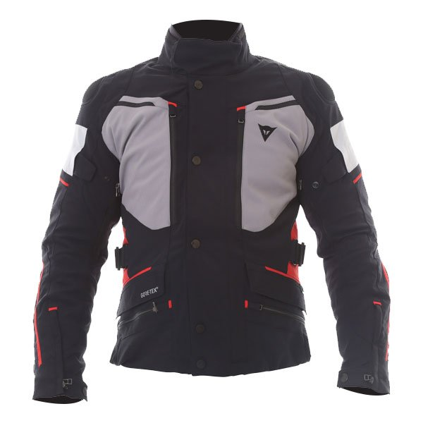 Dainese Carve Master 2 Mens Black Grey Frost Red GoreTex Waterproof Textile Motorcycle Jacket Front