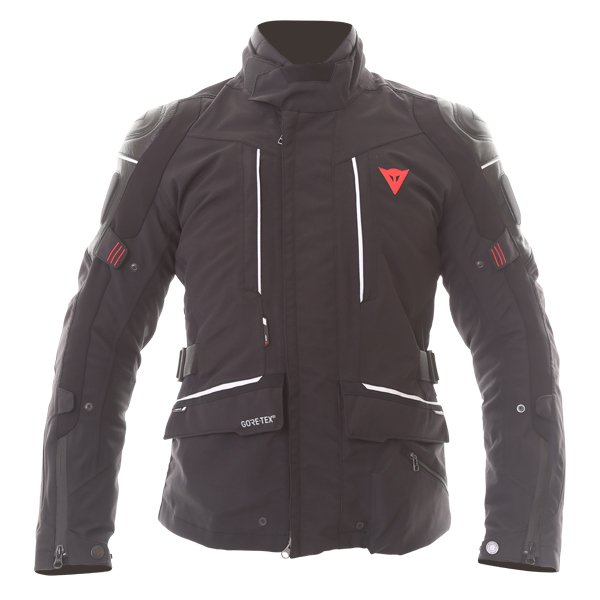 Dainese D-Cyclone Gore-Tex Black White Waterproof Motorcycle Jacket Front