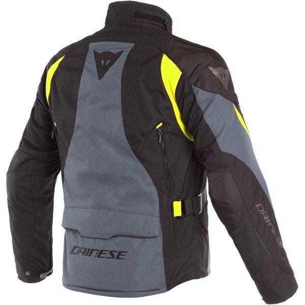 Dainese Dolomiti Gore-Tex Black Grey Yellow Waterproof Textile Motorcycle Jacket Back