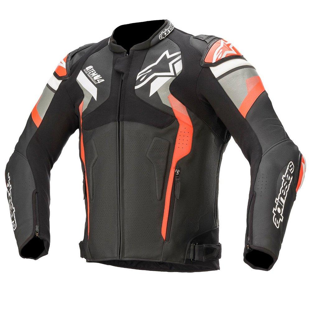 Alpinestars Atem v4 Leather Jacket Black Grey Red Fluo Black Grey Red Fluo