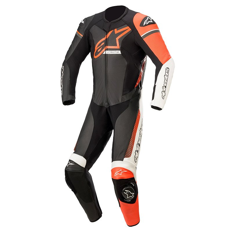GP Force Phantom Suit Black White Red Fluo Leather Suits