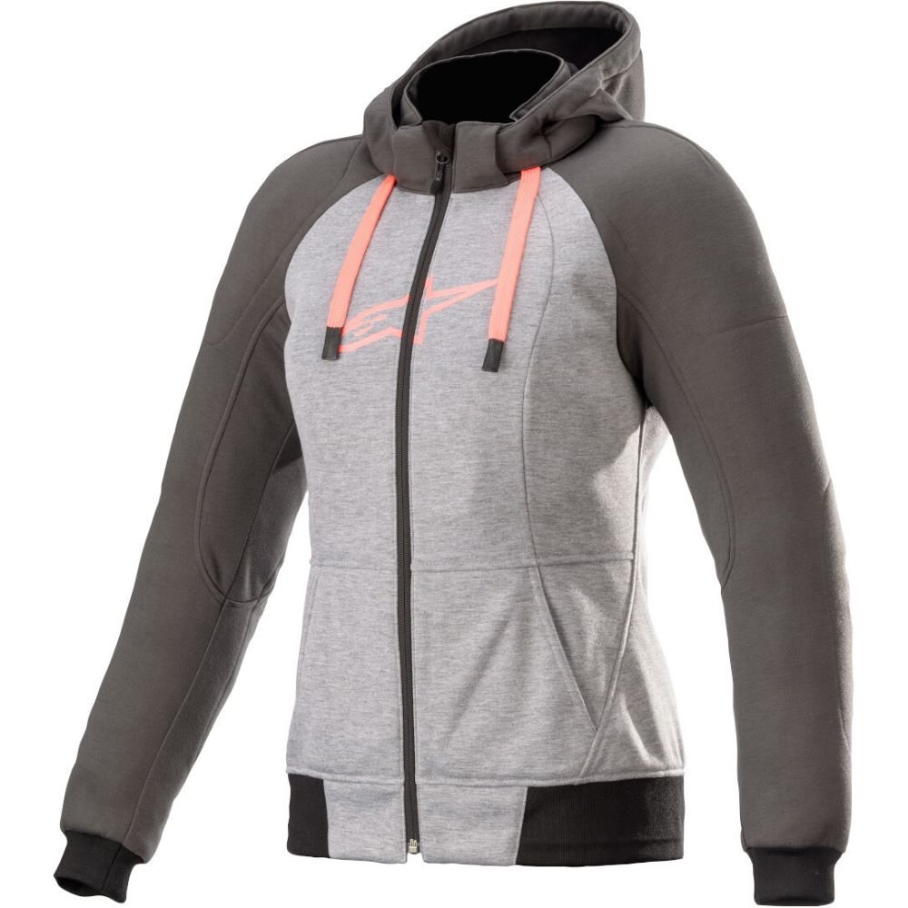 Alpinestars Stella Chrome Sport Hoodie Melange Grey Tar Diva Pink Size: Ladies UK - S