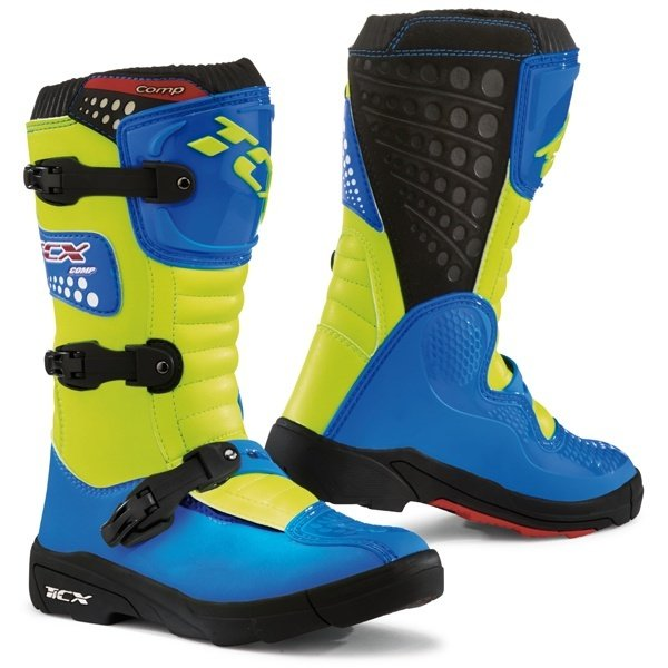 Comp-Kid S Boots Blue Yellow Discount Motorcycle Gear