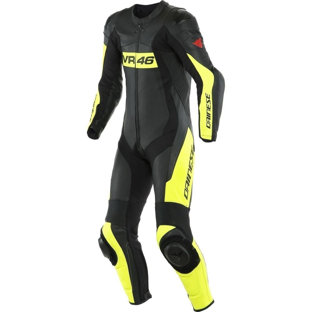 VR46 Tavullia 1pc Suit Black Fluo Yellow Leather Suits