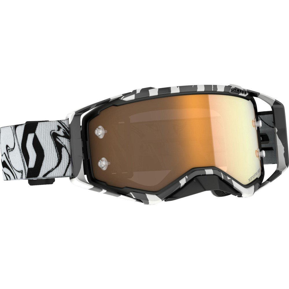 Prospect Amplifier Goggles Marble Black White Gold Chome Motocross Goggles
