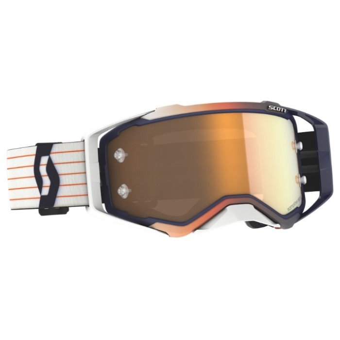 Prospect Amplifier Goggles Blue White Gold Chrome Works Motocross Goggles