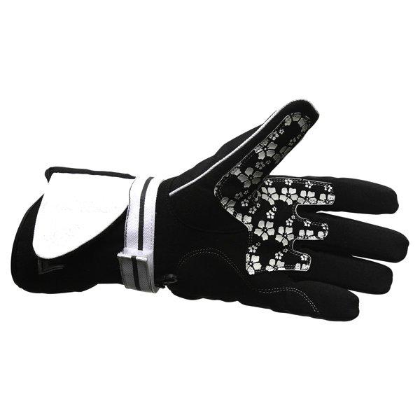 Frank Thomas Lilly Ladies Black White Motorcycle Gloves Palm