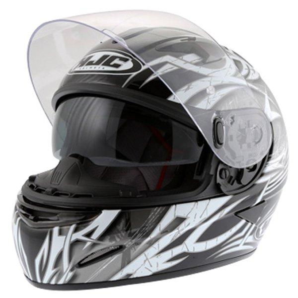 HJC IS-16 Scratch Black Full Face Motorcycle Helmet Open With Sun Visor