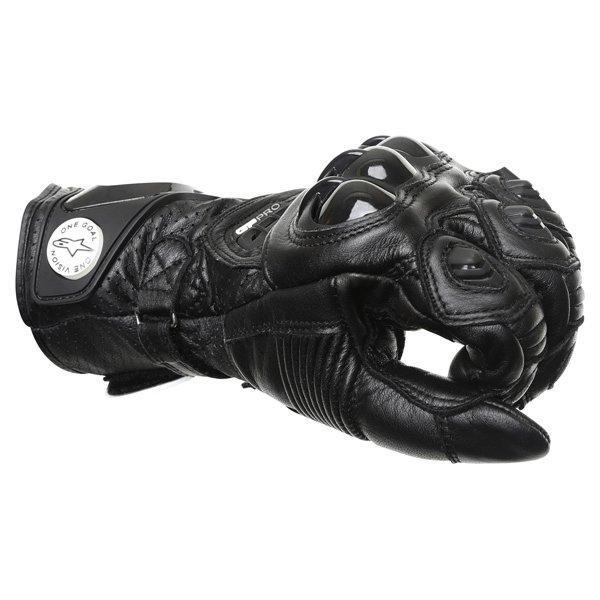 Alpinestars GP Pro Black Motorcycle Gloves Knuckle