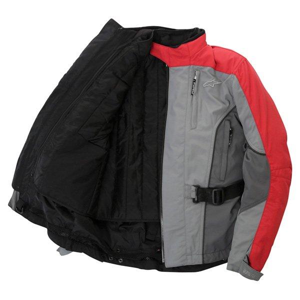 Alpinestars Rk-5 Mens Grey Red Goretex Waterproof Textile Motorcycle Jacket Inside