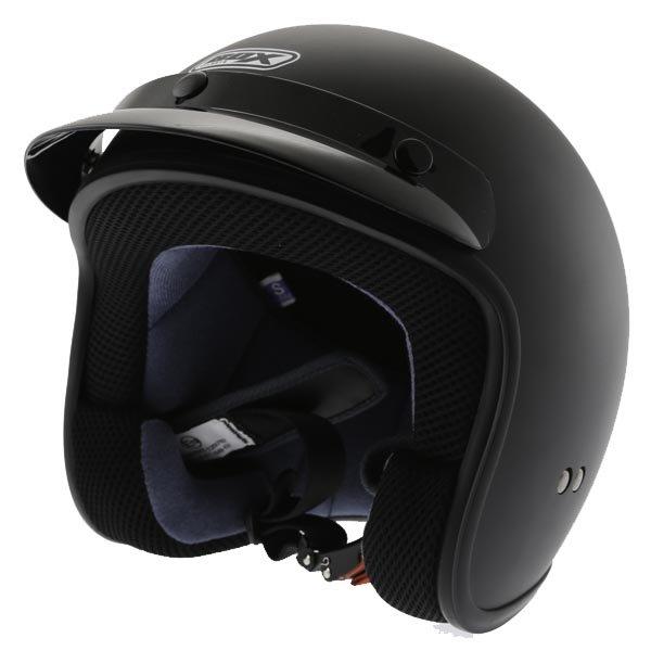 Box JX-2 Matt Black Open Face Motorcycle Helmet Front Left