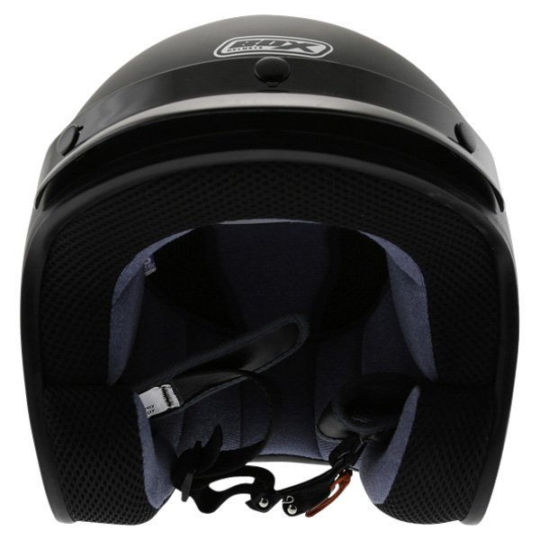Box JX-2 Matt Black Open Face Motorcycle Helmet Front