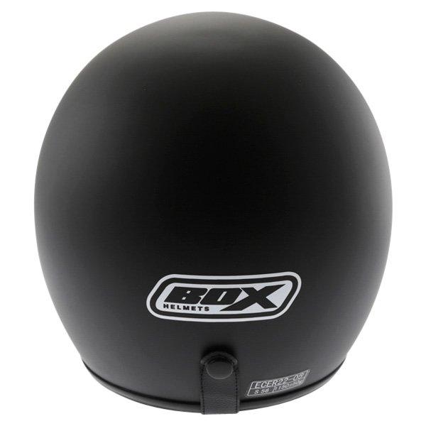 Box JX-2 Matt Black Open Face Motorcycle Helmet Back