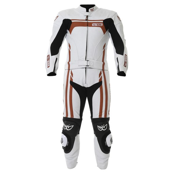 Berik Ls2-8323 2pc Mens White Red Leather Motorcycle Suit Front