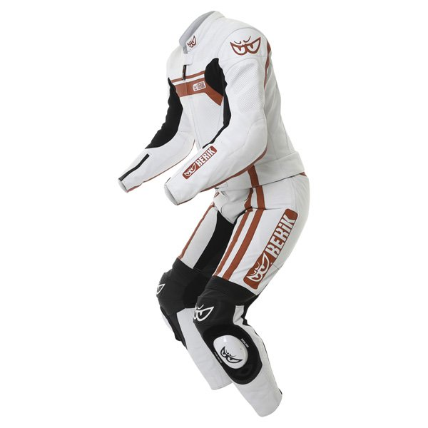 Berik Ls2-8323 2pc Mens White Red Leather Motorcycle Suit Racing crouch