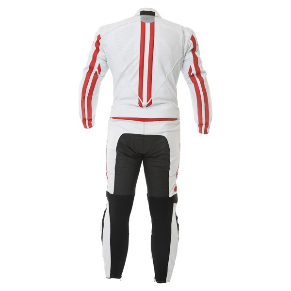 Berik Ls2-8323 2pc Mens White Red Leather Motorcycle Suit Back