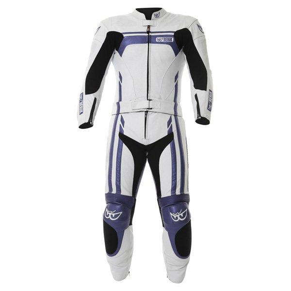 Ls2-8323 2pc Suit White Blue Leather Suits