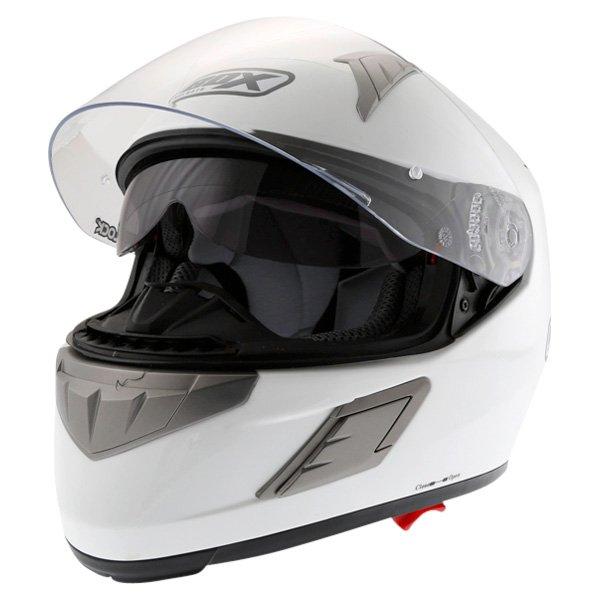 Box BZ-1 White Full Face Motorcycle Helmet Open With Sun Visor