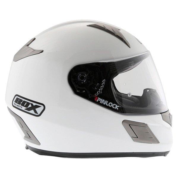 Box BZ-1 White Full Face Motorcycle Helmet Right Side
