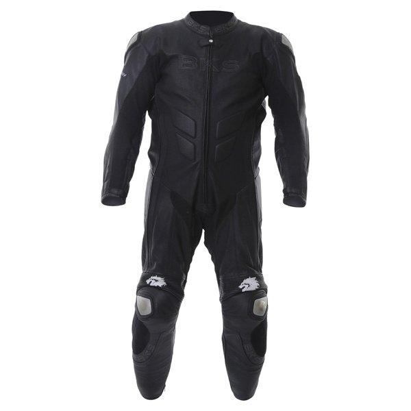 BKS BKS053 Benicia Mens Black Leather Motorcycle Suit Front