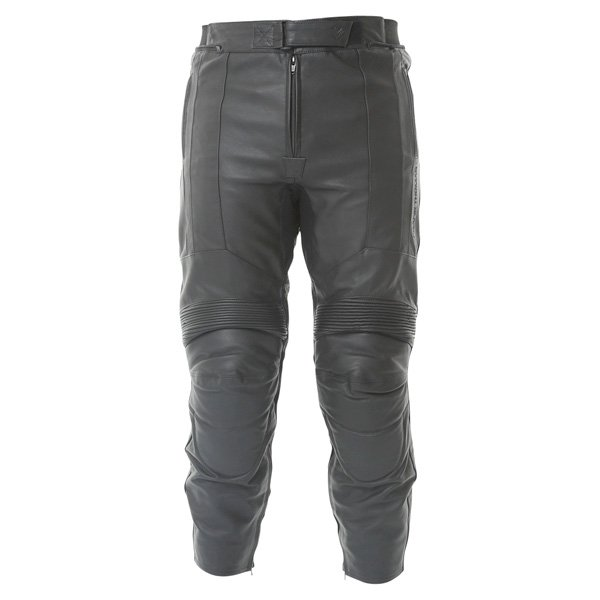 Frank Thomas FTL306 Panther Black Leather Motorcycle Jeans Front