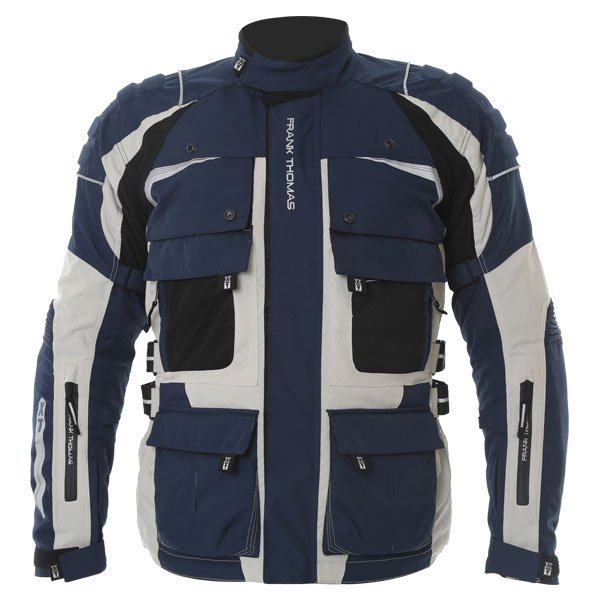 Frank Thomas FTW298 X Terrain Mens Navy Stone Textile Motorcycle Jacket Front