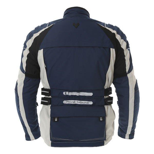 Frank Thomas FTW298 X Terrain Mens Navy Stone Textile Motorcycle Jacket Back