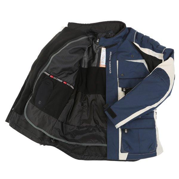 Frank Thomas FTW298 X Terrain Mens Navy Stone Textile Motorcycle Jacket Inside