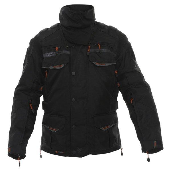 Frank Thomas FTW345 Tourino Aquatec Mens Black Waterproof Textile Motorcycle Jacket Front