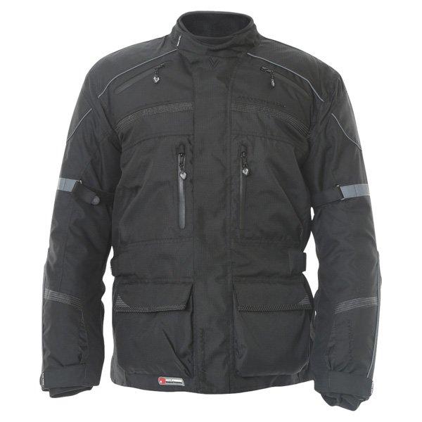 Frank Thomas FTW350 Full Force Aqua 2 Mens Black Waterproof Textile Motorcycle Jacket Front