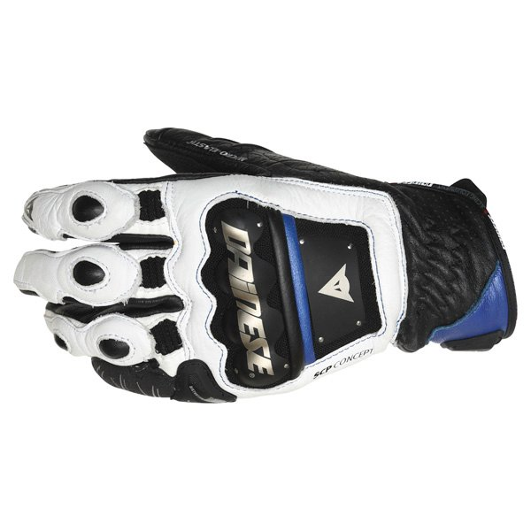 Dainese 4-Stroke White Blue Black Motorcycle Gloves Back