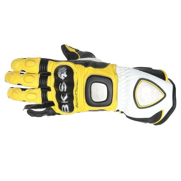 BKS Replica 09 Yellow White Black Motorcycle Gloves Back
