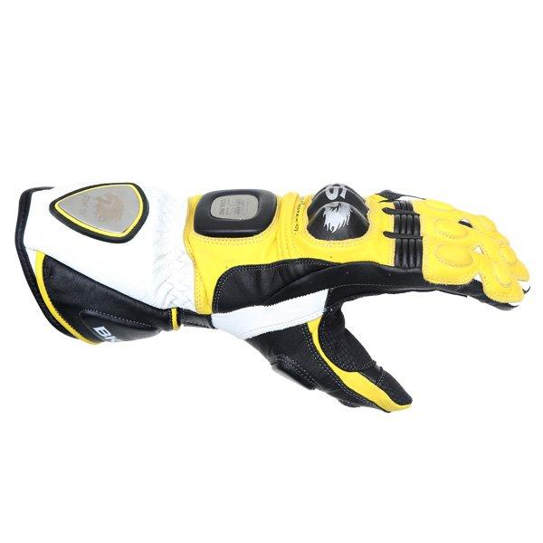 BKS Replica 09 Yellow White Black Motorcycle Gloves Thumb side