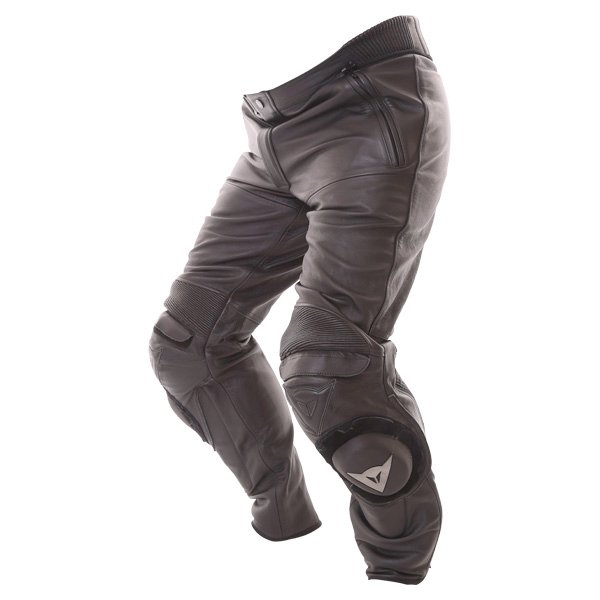Dainese Alien Black Leather Motorcycle Jeans Riding crouch