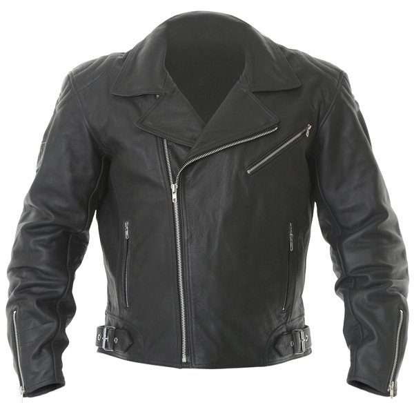 Frank Thomas FTL325 Traditional Black Leather Motorcycle Jacket Front