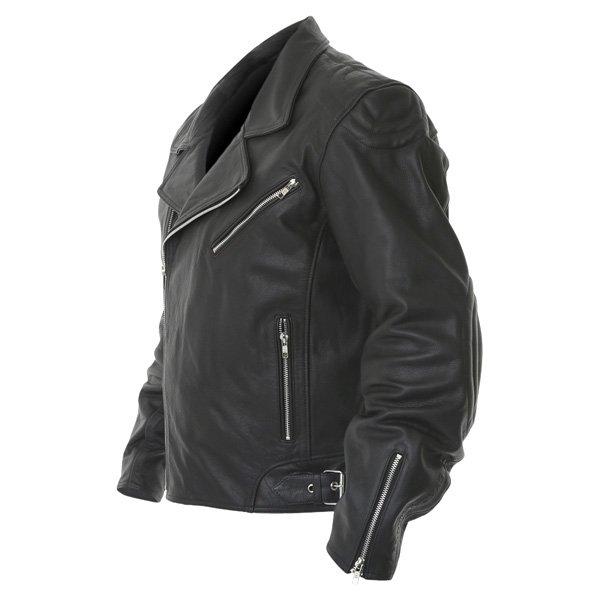 Frank Thomas FTL325 Traditional Black Leather Motorcycle Jacket Side