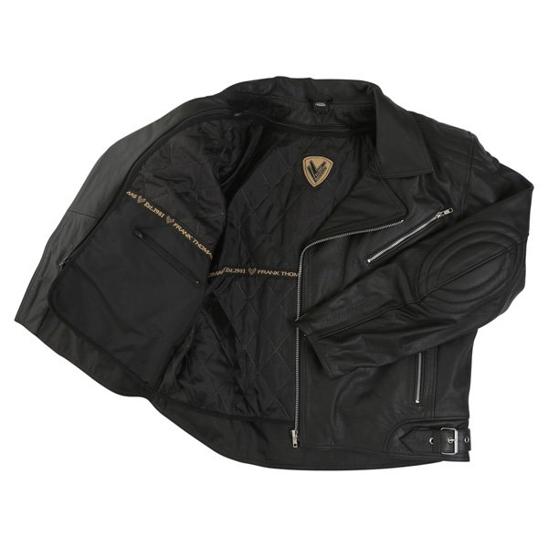 Frank Thomas FTL325 Traditional Black Leather Motorcycle Jacket Inside