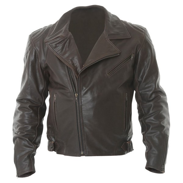 Frank Thomas FTL325 Traditional Brown Leather Motorcycle Jacket Front