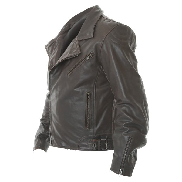 Frank Thomas FTL325 Traditional Brown Leather Motorcycle Jacket Side