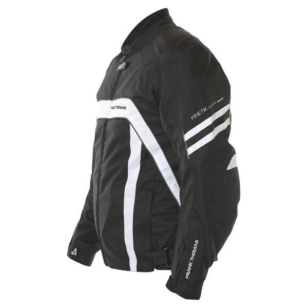 Frank Thomas FTW356 Kinetik Mens Black White Textile Motorcycle Jacket Side